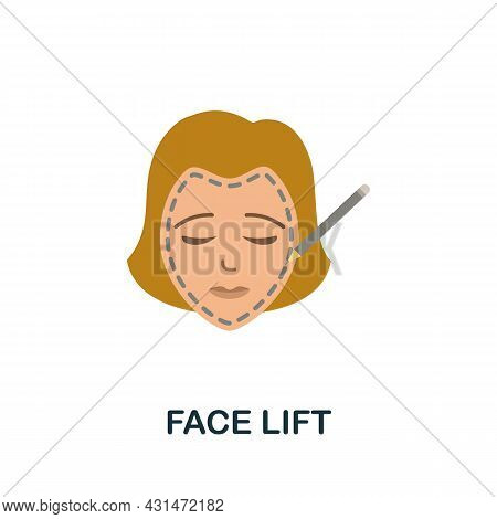 Face Lift Flat Icon. Colored Sign From Plastic Surgery Collection. Creative Face Lift Icon Illustrat