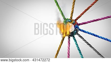 Teamwork Crisis And Disconnect Concept As A Business Metaphor For Losing A Partnership As Diverse Ro
