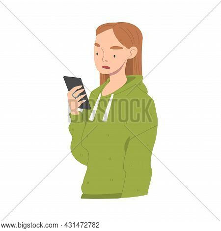 Disappointed With Bad News Woman Character Reading Message On Smartphone Vector Illustration