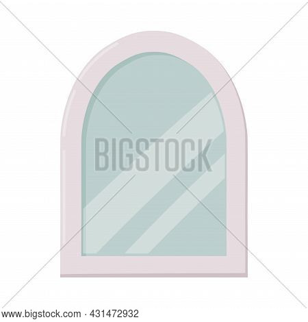 Mirror As Bathroom Or Washroom Interior Item Isolated On White Background Vector Illustration