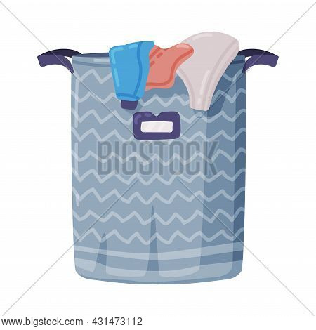 Laundry Basket Or Hamper Full With Clothing Items Vector Illustration