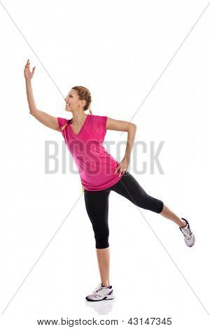 young attractive woman sports practicing a dance