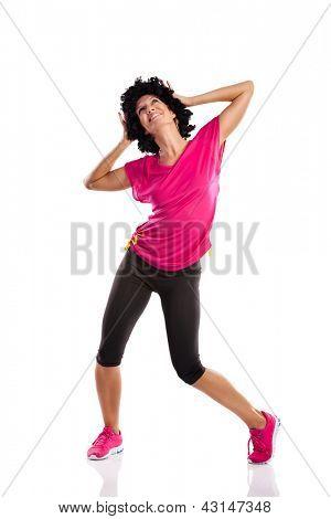 young woman doing sports dancing