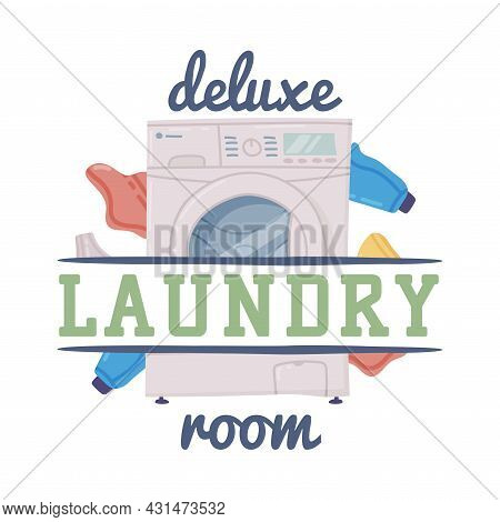 Bathroom Lettering With Deluxe Laundry Room Inscription And Washing Machine Vector Illustration