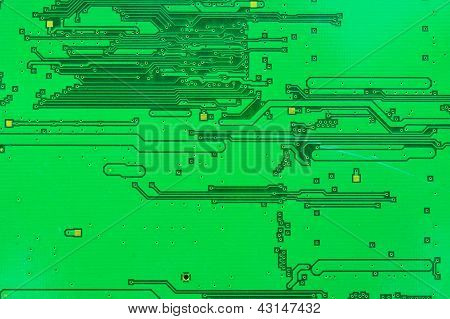 Close Up On The Old Electronic Circuit Boards.