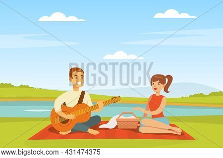 Romantic Couple Having Picnic Sitting On Blanket With Hamper Playing Guitar Vector Illustration
