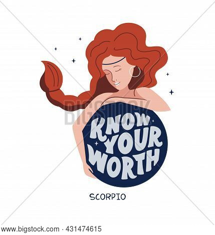 This Is A Zodiac Symbol - Scorpio And Space Girl. The Motivation Phrase - Know You're Worth. The Car