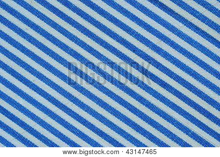 Close Up On Blue And White Line Fabric With 30 Degree Angle