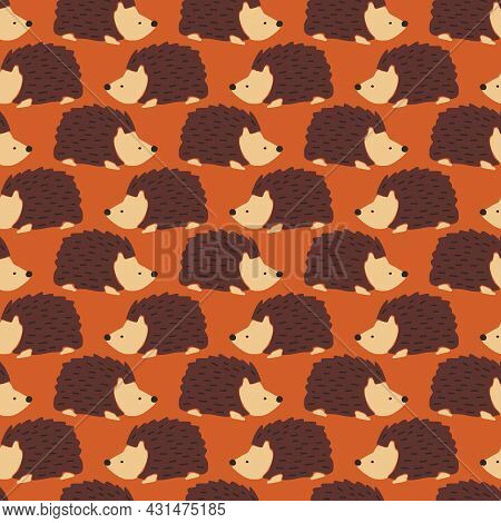 Hedgehog Seamless Vector Pattern. Cute Autumn Repeating Background With Fall Animals. Fall Kids Autu