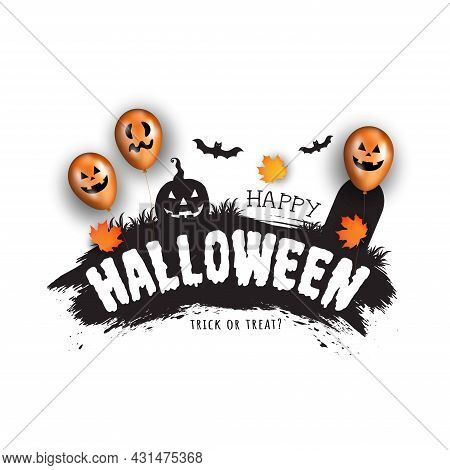 Happy Halloween. Vector Holiday Illustration. Vector Halloween Pumpkin And Scary Balloons