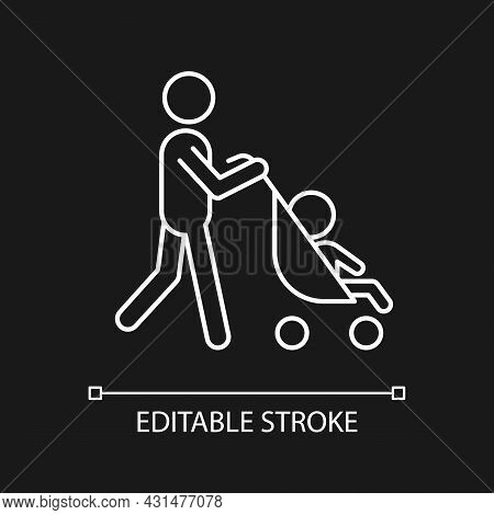 Walking With Stroller White Linear Icon For Dark Theme. Early Bonding Time With Newborn. Thin Line C