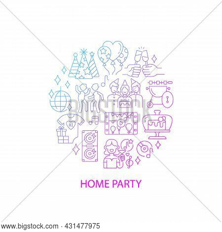 Party Abstract Gradient Linear Concept Layout With Headline. Celebrating Birthday. Entertainment Min