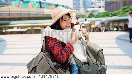 Traveler Backpacker Asian Women Lesbian Lgbt Couple Travel In Bangkok, Thailand. Happy Young Female
