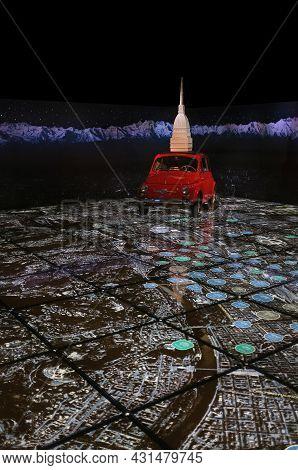 Turin, Italy - 09 16 2012: A Fiat 500 (1962) Surmounted By The Mole Antonelliana, Symbol Of Turin Ov