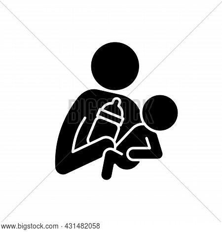 Bottle Feeding Black Glyph Icon. Skin-to-skin Contact. Bond Between Parent And Baby. Create Emotiona