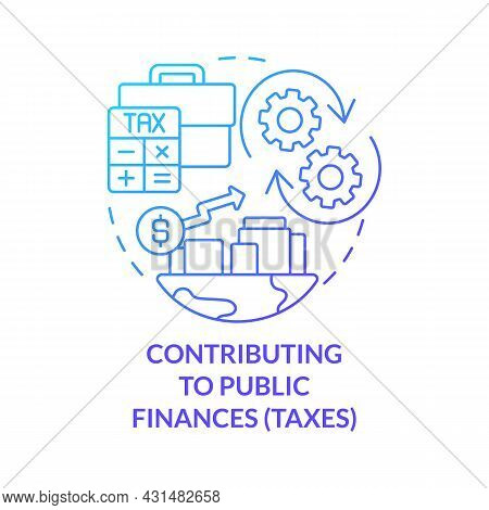 Contributing To Public Finances Blue Gradient Concept Icon. Paying Taxes Abstract Idea Thin Line Ill