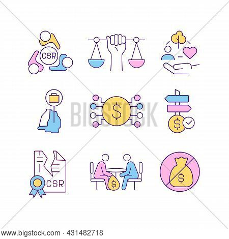 Corporate Social Responsibility Related Rgb Color Icons Set. Csr Violation And Punishment. Corruptio