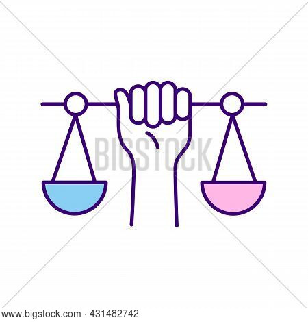 Scales And Hand Rgb Color Icon. Symbol Of Justice. Human Rights And Equality. Persons Rights At Work