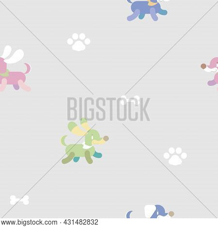 Seamless Repeat Pattern Animal Pet Dachshund Sausage Dog Repeat Pattern With Paw Foot Print And Bone