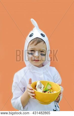 Little Boy In Halloween Ghost Costume Isolated.