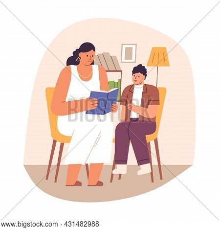 Parent Checking Kids Homework. Mother Helping Child In Studying. Mom And Son Reading School Book At