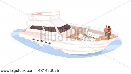 Love Couple Standing On Deck Of Cruise Yacht. Man And Woman Traveling Together On Sea Boat. People A