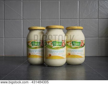 Sint Gillis Waas, Belgium, August 30, 2021, Three Glass Jars Of Mayonnaise With Egg Of 500 Grams Of