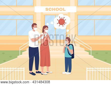 Worried Parents See Their Son Off To Lessons Flat Color Vector Illustration. Corona Precautions. Mom
