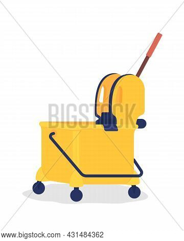 Yellow Janitor Cart Semi Flat Color Vector Object. Supplies For Cleaning In Public Places. Housekeep