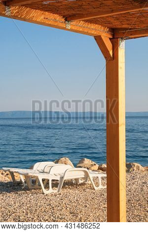 Thatched Bungalow On The Croatian Seaside.rest And Comfortable Summer Vacation On The Sunny Coast.