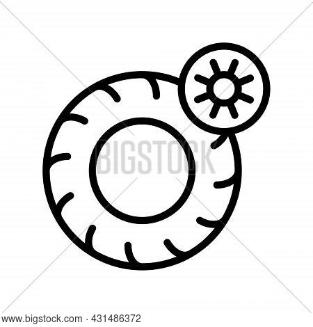 Summer Tire, Tyre And Wheel Flat Line Icons. Tires With Summer Symbols. Seasonal Tyre Fitting. Simpl
