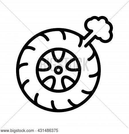 Car Punctured Wheel Flat Line Icons.tyre Maintenance. Automobile Wheel Service. Simple Flat Vector I