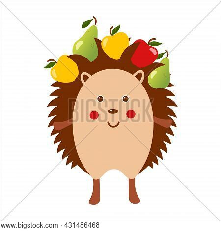 Cute Hedgehog With Apples And Pears, Adorable Wild Animal, Funny Hedgehog, Isolated Flat Vector Illu