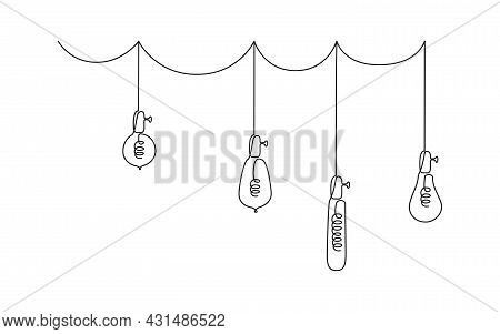 One Continuous Line Drawing Of Lightbulbs. Vector Illustration Of Hanging Loft Pendant Electric Lamp