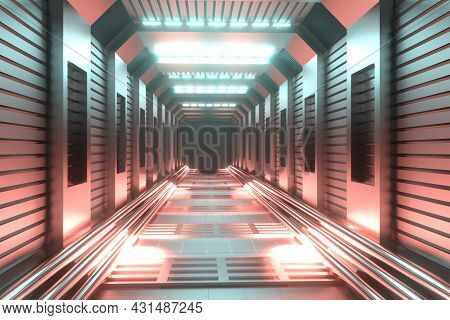 Abstract Sci-fi Tunnel Background. Futuristic Hallway Warehouse Garage With Neon Lighting. 3d Render
