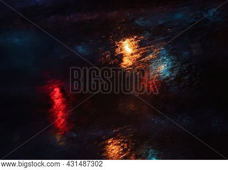 Abstract Background With Flowing Water And Colored Lights. Water Drops And Splashing On Glass. Strea