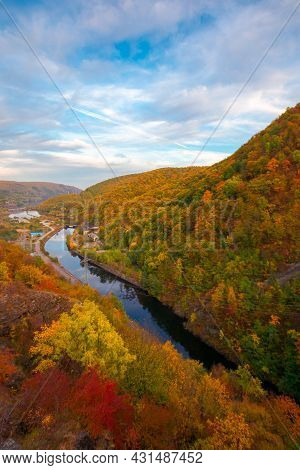 Countryside Scenery With River At Sunset. Beautiful Mountain Landscape Of Romania In Autumn Season.