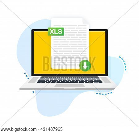 Download Xls Button On Laptop Screen. Downloading Document Concept. File With Xls Label And Down Arr