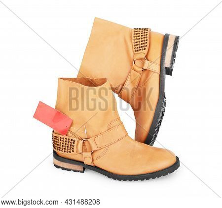 Shoes On White Background. Sale Concept Objects, Board, Modern, Fashionable, Studio, Shot, Discount,