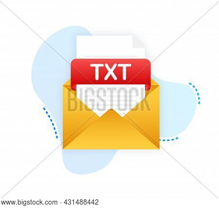Download Txt Button. Downloading Document Concept. File With Txt Label And Down Arrow Sign. Vector I