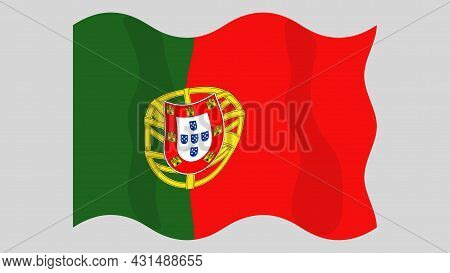 Detailed Flat Vector Illustration Of A Flying Flag Of Portugal On A Light Background. Correct Aspect