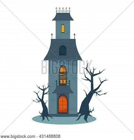 Scary Haunted House And Broken Windows, Halloween Horror House. Vector Illustration In Flat Style