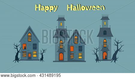 Scary Haunted House And Broken Windows, Halloween Horror House Set. Vector Illustration In Flat Styl