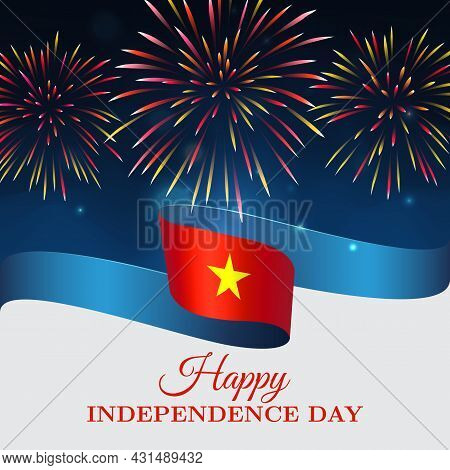 Banner September 2, Vietnam Independence Day, Vector Template With Vietnamese Flag And Fireworks On
