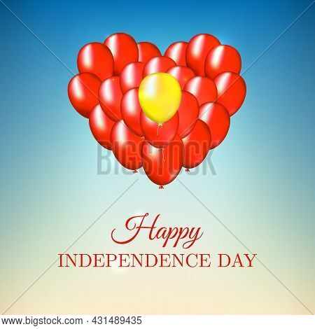 Banner September 2, Vietnam Independence Day, Vector Template. Heart Shaped Balloons In Vietnamese F