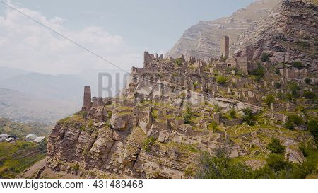 Top View Of Amazing Stone City In Mountains. Action. Ancient Stone City On Rock In Mountains. Abando