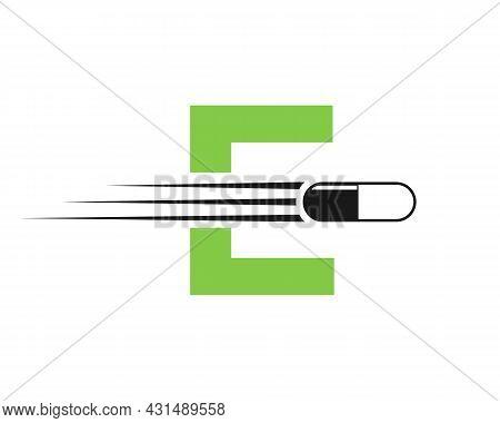 Medicine Logo With E Letter. E  Medicine Pill Or Tablet Logo Concept. Capsule Pharmacy Medical Logo