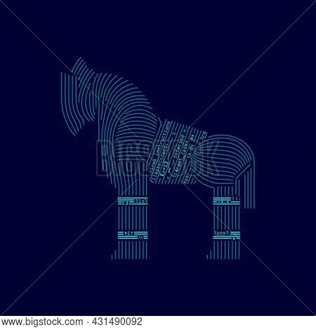 Concept Of Computer Virus On The Internet, Trojan Horse Combined With Coding Program