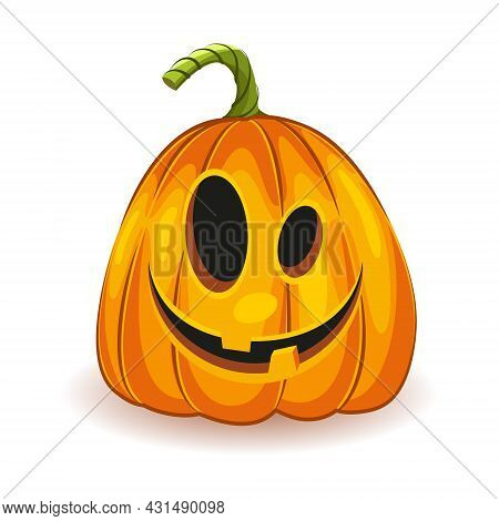 The Main Symbol Of The Happy Halloween Holiday. Orange Unusual Funny Pumpkin With Smile For Your Des