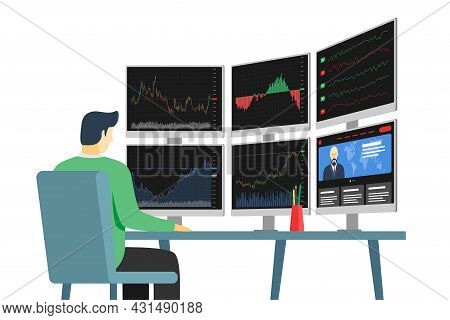 Businessman Stock Market Trader In Workplace Looking At Multiple Computer Screens With Financial Cha